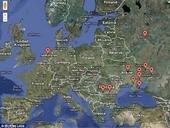 Мошенничество: Эта карта показывает местоположение серверов контроля Трояна, главным образом расположенных в Восточной Европе