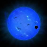 Планета GJ 1214 в голубом свете. Синяя сфера - местная звезда GJ 1214, а черная сфера справа перед ней - экзопланета GJ 1214 B
