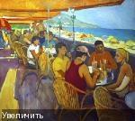 На иллюстрации: Вера Аверьянова  «Кафе в Крыму», 2012 г., холст, масло, 70х90 см.