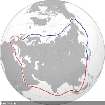 Северо-восточный проход (синяя линия) предпочтительнее для глобального судоходства. Пока что приходится использовать опасный маршрут Суэцкого канала (красная линия).